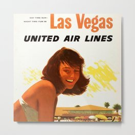 "Vintage Las Vegas United Air Lines Travel Poster ""Day Time Sun Night Time Fun"" Metal Print"
