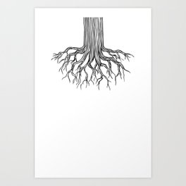 Tree Root Drawing (black on white) Art Print