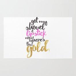 Girly Pink Gold Black Gold Digger Typography Rug