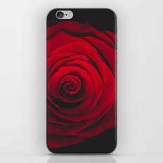 Red rose on black background vintage effect iPhone Skin