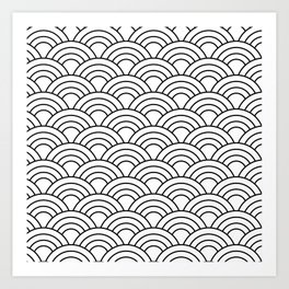 Wave Pattern in Black and White Art Print