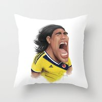 colombia Throw Pillows featuring Falcao - Colombia by Sant Toscanni