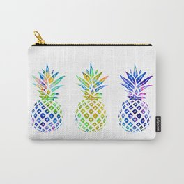3 Rainbow Pineapples - Multicolored Carry-All Pouch