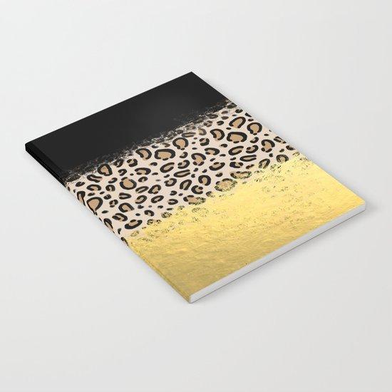 Wilder - black gold foil cheetah print animal pattern spots dots bold modern design sparkle glitter Notebook