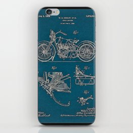 1902 Motorcycle Blueprint Patent in blue iPhone Skin