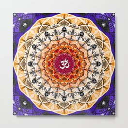 ORANGE OM MANDALA Metal Print
