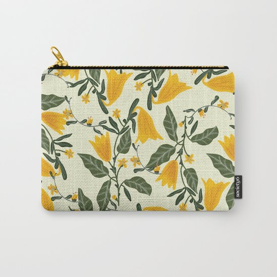 Yellow Bright Flower Pattern Carry-All Pouch