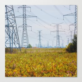 Landscape with power lines Canvas Print