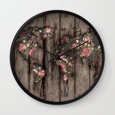 Wood Flowers Mapamundi Wall Clock