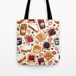 Peanut Butter and Jelly Watercolor Tote Bag