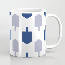 Blue Dreidels on white background for Hanukkah Coffee Mug