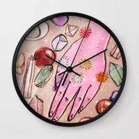 chakra Wall Clocks featuring Hand Chakra by Danielle Feigenbaum