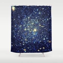 galaxY Stars : Midnight Blue & Gold Shower Curtain