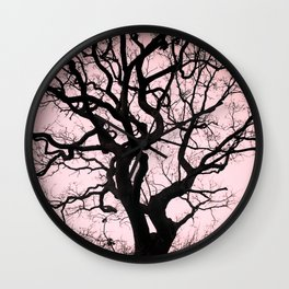 Tree Silhouette - Pink Wall Clock