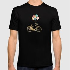 Bicycle & Balloons Mens Fitted Tee Black MEDIUM