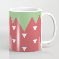 strawberry Mugs featuring Strawberry by According to Panda