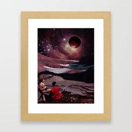 Red moon night Framed Art Print