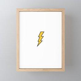 Lightning Bolt Yellow Flash - Minimalistic Energy Framed Mini Art Print