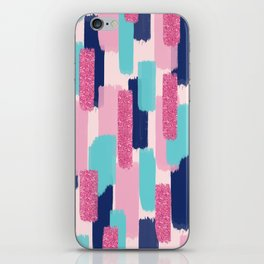 Navy and Pink Glitter Brush Strokes iPhone Skin