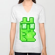 Giant Pixel Gummy Bear Unisex V-Neck