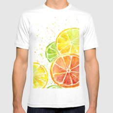 Fruit Watercolor Citrus Mens Fitted Tee White X-LARGE