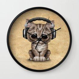 Cute Kitten Dj Wearing Headphones Wall Clock