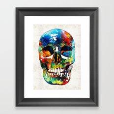 Colorful Skull Art - Aye Candy - By Sharon Cummings Framed Art Print