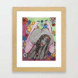 Flowers and Stockings Framed Art Print