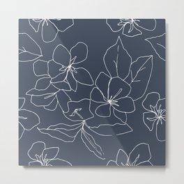 Flowers in Bloom, Drawing in Blue Metal Print