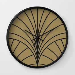 Diamond Series Floral Burst Charcoal on Gold Wall Clock