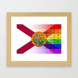 Gay Rainbow Wall Florida Flag Framed Art Print