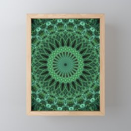 Detailed green mandala Framed Mini Art Print