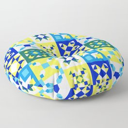 Moroccan tiles pattern with blue and yellow no4 Floor Pillow