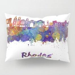 Rhodes skyline in watercolor Pillow Sham