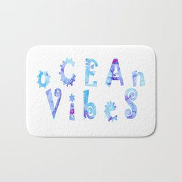 oCEAn VibeS | Tropical Cyan Teal & Magenta Watercolor Bath Mat