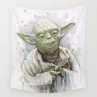 yoda Wall Tapestries featuring Yoda  by Olechka