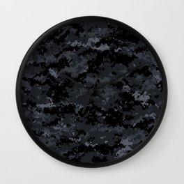 Pixelated Dark Grey Camouflage Wall Clock