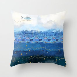 Sky Fish - Warming Oceans and Sea Level Rising Throw Pillow