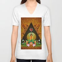 surfboard V-neck T-shirts featuring Surfboard with flowers  by nicky2342