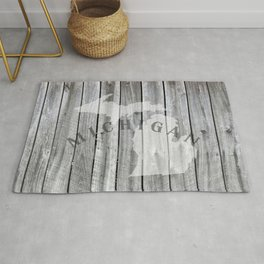 Michigan Map Home Rustic State Barn Wall Wood Rug