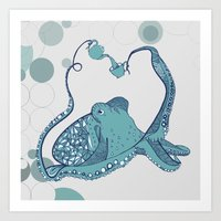 octopus Art Prints featuring Octopus ! by Clare Corfield Carr