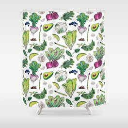 Superfood Pattern Shower Curtain