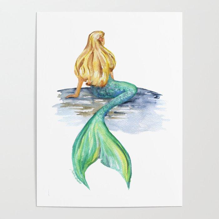 Mermaid Watercolor Poster