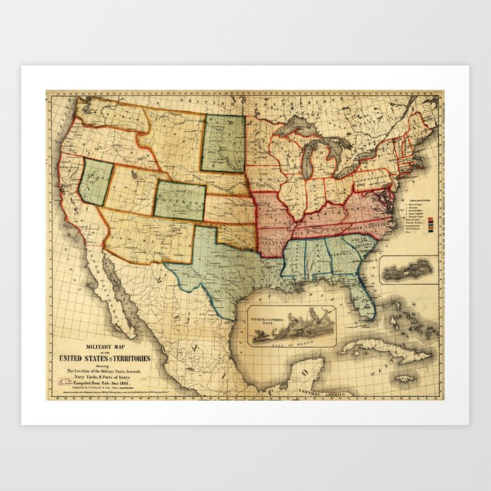 Map of the United States (1861) Art Print by thearts