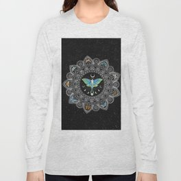 Lunar Moth Mandala with Background Long Sleeve T-shirt