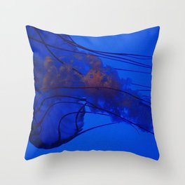Fluorescing Jellyfish Throw Pillow