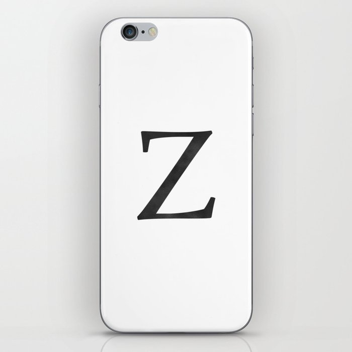 Letter Z Initial Monogram Black and White iPhone Skin