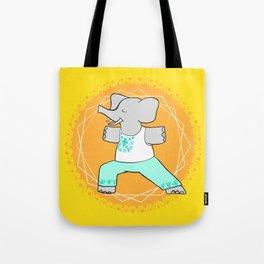 Yoga elephant - warrior pose Tote Bag