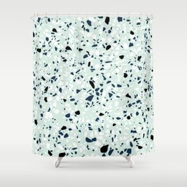 'Speckle Party' Navy Mint Black White Dots Speckle Terrazzo Pattern Shower Curtain