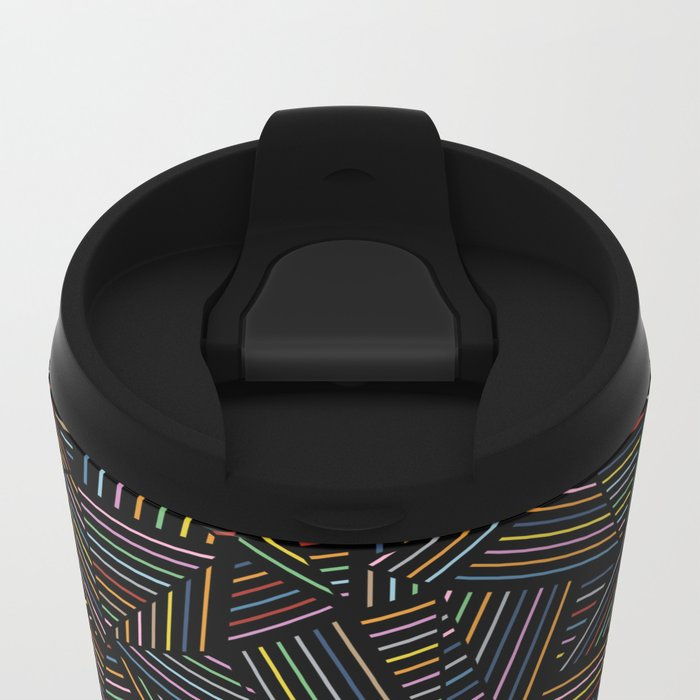 Ab Linear Rainbow Black Travel Mug